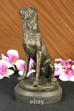Vintage Art Deco Solid Fonte Bronze Dog / Hunting Marble Figure