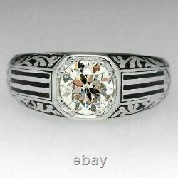 Vintage Art Deco Zircone Engagement Men's Ring Solid 925 Silver