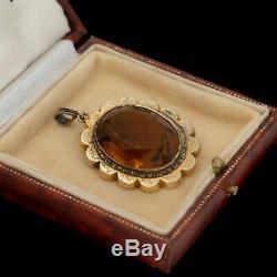 Vintage Art Nouveau Antique 14k Gold Filled Gf Rococo Madeira Citrine Pendant
