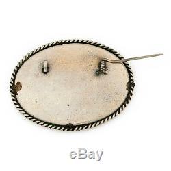 Vintage Art Nouveau Antique 925 Sterling Silver Mop Russian Painted Pin