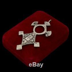 Vintage Art Nouveau Antique Silver Silver Ottoman Agadez Tuareg Cross Pendant