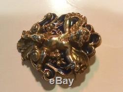 Vintage Art Nouveau Antique Silver With Enamel Blue Cherub Angel / Pin / Brooch