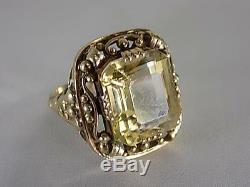 Vintage Art Nouveau Citrine Gemstone Ring 585er Gold Floral 20. Jhd