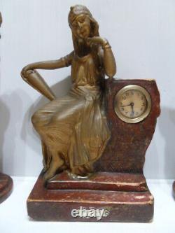 Vintage Art Nouveau Clock Uhr Clock Clock Chimney Vase The Egyptian Bercé