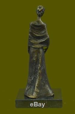 Vintage Art Nouveau French Victorian Woman Bronze Sculpture Statue Parlor Home