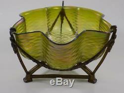 Vintage Art Nouveau Jardiniere Bohemia Iridescent Glass Shell 20. Using Jhd
