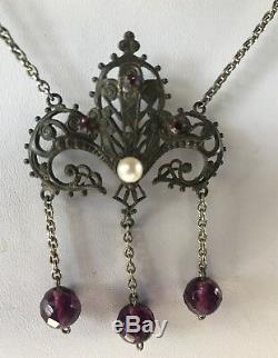 Vintage Art Nouveau Revival Purple Faceted Glass Beads Genuine Necklace