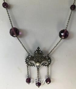 Vintage Art Nouveau Revival Purple Faceted Glass Beads Necklace Genuine