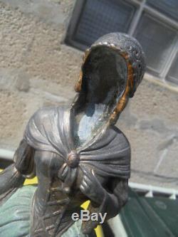Vintage Art Nouveau Statue Chryselephantine Elegante Levrier Barzoi By Miandres