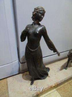 Vintage Art Nouveau Statue Elegant Woman With Greyhound Leger Barzoi By Roggia