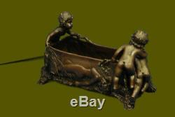 Vintage Art Nouveau Style Figurative & Children Bronze Flower Planter Deco Sculpture