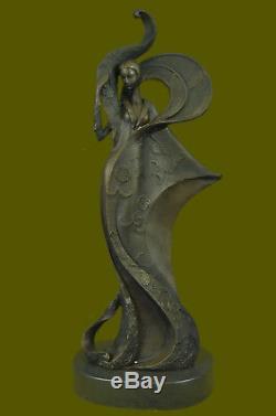 Vintage Art'theatre 'jazz Singer Actress Dancer Bronze Marble Statue Artwork