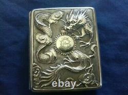 Vintage Bel Silver Cigarette Case China Decor Engraving Dragon Pagoda