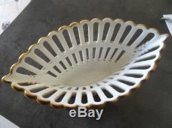 Vintage Bowl Cut Center Table Faience Porcelain Golden Painted Xixth Signed