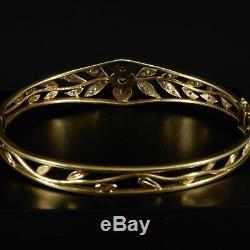 Vintage Bracelet With Diamonds Altschliff 37 Art Nouveau 14 Karat Yellow Gold