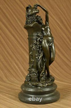 Vintage Bronze Statue / Satyre Sculpture With Erotic Art Deco Nymph Lrg