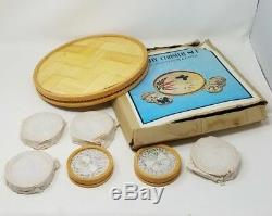 Vintage Butterfly Bamboo Below Glass Set Layers Art Iced Tea Cocktail Tray