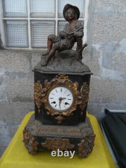 Vintage Clock Uhr Pendulum Clock Fireplace Flute Player Art Nouveau Napoleon