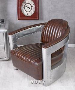 Vintage Club Armchair Aluminum Thick Leather Art Deco Plane Dc3 New Wooden Frame