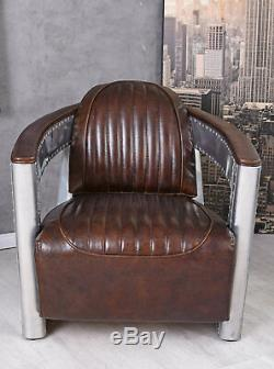 Vintage Club Chair Aluminum & Thick Leather Art Deco Aircraft Dc3 Wooden Frame
