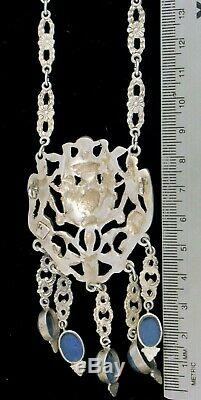 Vintage Designer Peruzzi Italy 800 Sterling Silver Art Nouveau Necklace Sodalite