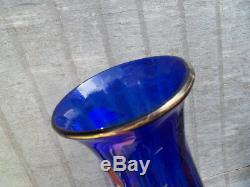 Vintage Enamelled Vase Dragonfly Narcissus Cobalt Blue Glass Art Nouveau Legras
