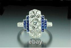 Vintage Engagement Women Ring Ancient Art Deco Sapphire Blue Diamond White Gift