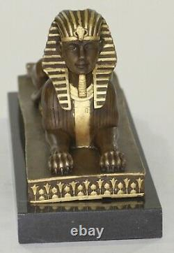 Vintage European Finery Art Deco Egyptian Revival Bronze Sphinx Squeeze-book Lrg