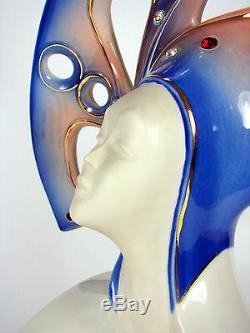 Vintage Galos Beautiful Porcelain Art Deco Venice Carnival Stand 38 CM