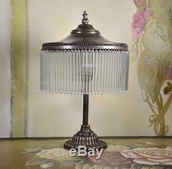 Vintage Glass Pedestal Lamp Art Deco Vintage Brass Bedside Lamp
