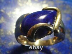 Vintage Gold Ring 18k 750 - Lapis Lazuli Art Nouveau / Deco 7.09g T59