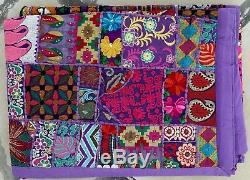 Vintage Handmade Patchwork Wall Hanging Embroidered Tapestry Covers Bed