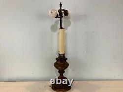 Vintage Laiton Double Bouillotte Art Nouveau Electric Style Table Lamp