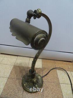 Vintage Lampe Bureau Desk Lamp Art Nouveau Notary Banker Piano In Bronze