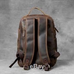 Vintage Large Capacity Backpack Leather Bags Men Tighten Computer Business