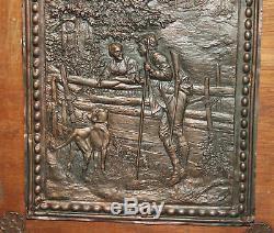 Vintage Made By Hand On Wall Decor Copper Plate Hunting Scene Wood
