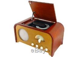 Vintage Nostalgia CD Player And Fm Radio, Real Wood Retro Vintage Art Deco