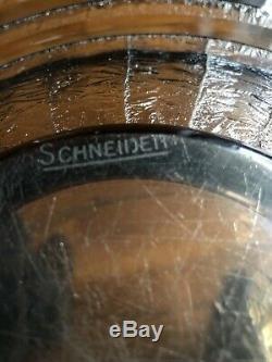 Vintage Old Crystal Schneider Trophy Plate Flat Art Deco New