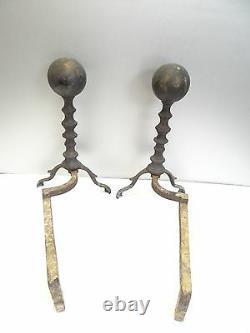 Vintage Pair Old Used Metal - Laiton Round Modern Black Chimney