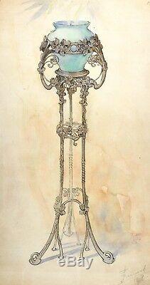 Vintage Pencil Drawing, Art Nouveau 1908 Antique Vase