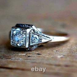 Vintage Retro Art Deco 2.70 Ct Diamond 14k White Gold Engagement Ring On