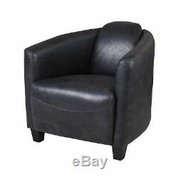 Vintage Retro Genuine Leather Armchair Art Deco Furniture Sitting