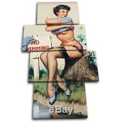 Vintage Retro Girl Pin-ups Multi Canvas Art Wall Print