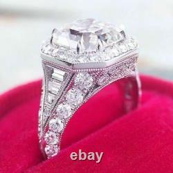 Vintage Round Cup Art Deco Old Engagement Ring 925 Silver
