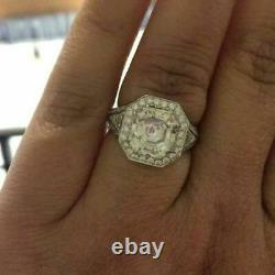 Vintage Round Cup Art Deco Old Engagement Ring 925 Sterling Silver
