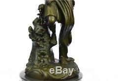 Vintage Semi Nude Erotic Girl Roman Bronze Sculpture Art Nouveau Deco Figurine