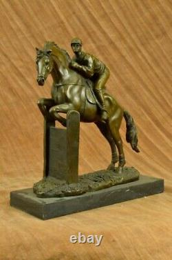 Vintage Signed Jockey Riding Bronze Sculpture Art Statue Decorative Figure