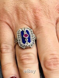 Vintage Silver 925/1000 Ring With Art Deco Look, Lapis Lazuli And Marcasites