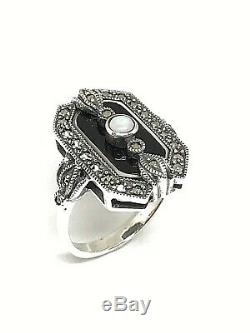 Vintage Silver 925/1000 Ring With Art Deco, Onyx, Opal And Marcasite Look