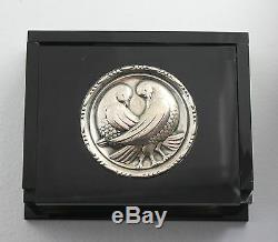 Vintage Silver Black Art Deco New Jensen Style Lovebirds Lucite Box